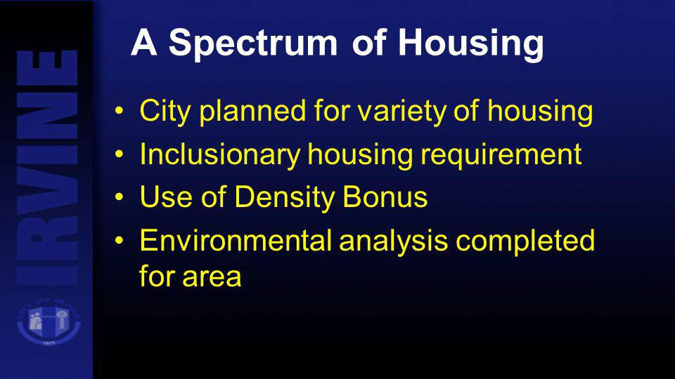 A Spectrum of Housing City planned for variety of housing