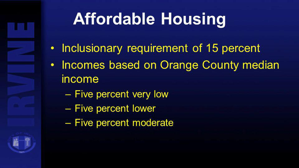 Affordable Housing Inclusionary requirement of 15 percent