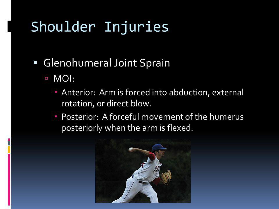 Shoulder Injuries Glenohumeral Joint Sprain MOI: