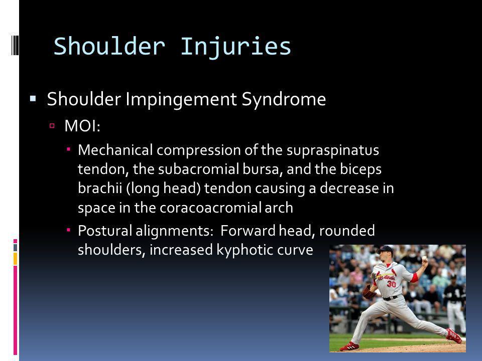 Shoulder Injuries Shoulder Impingement Syndrome MOI: