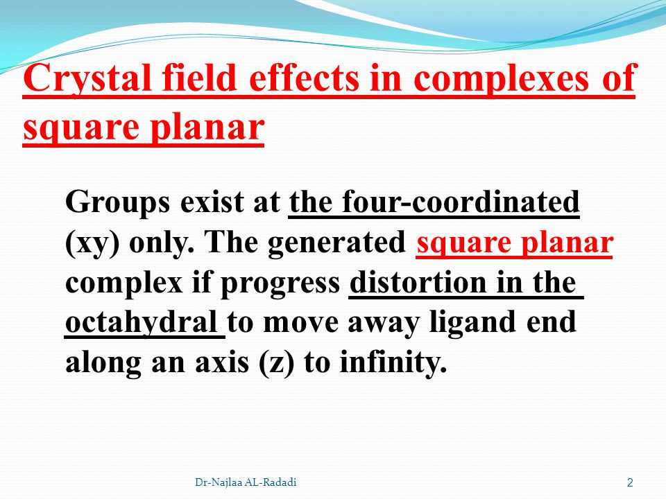 Crystal field effects in complexes of square planar