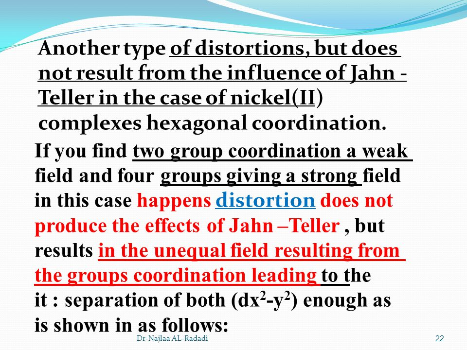 Another type of distortions, but does not result from the influence of Jahn -Teller in the case of nickel(II) complexes hexagonal coordination.