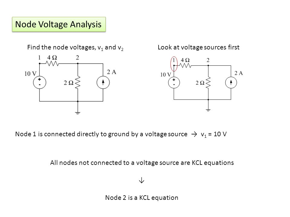 All nodes not connected to a voltage source are KCL equations