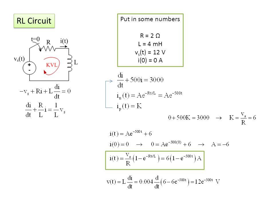 RL Circuit Put in some numbers R = 2 Ω L = 4 mH vs(t) = 12 V