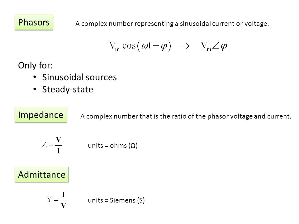 Phasors Only for: Sinusoidal sources Steady-state Impedance Admittance