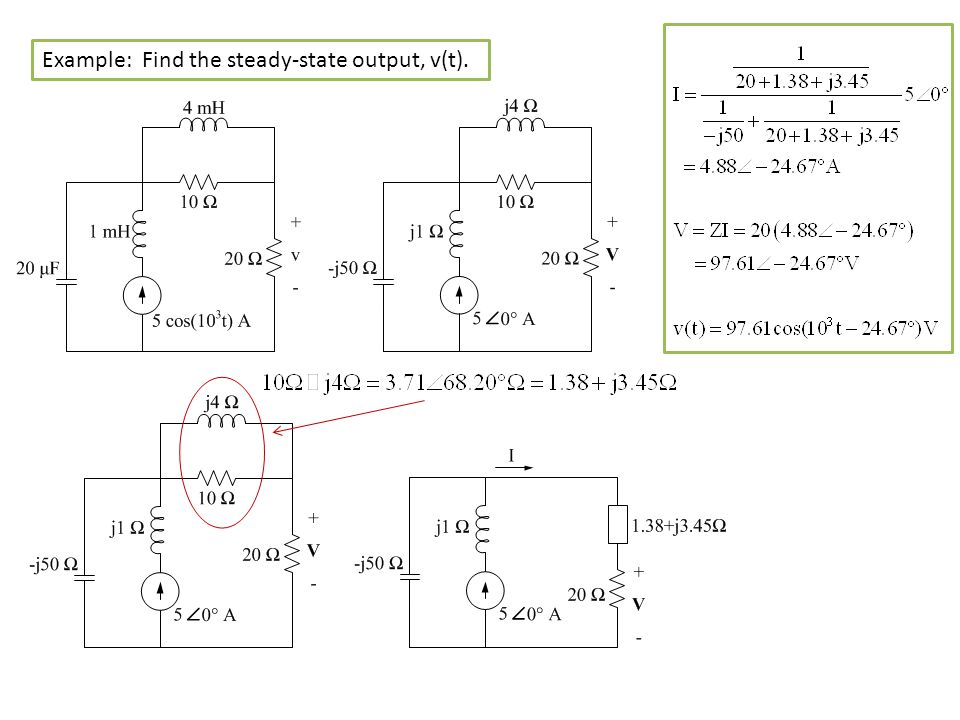 Example: Find the steady-state output, v(t).