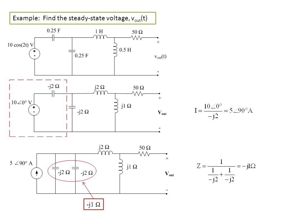 Example: Find the steady-state voltage, vout(t)