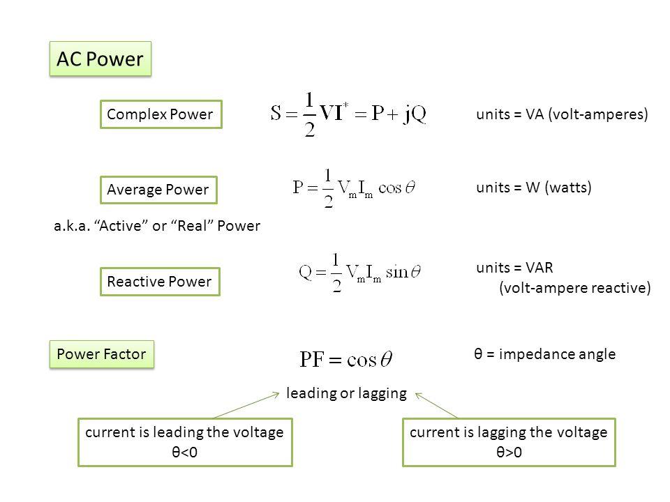 AC Power Complex Power units = VA (volt-amperes) Average Power