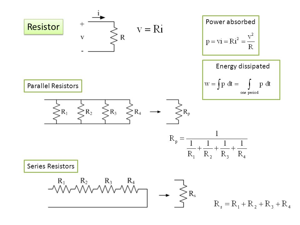 Resistor Power absorbed Energy dissipated Parallel Resistors