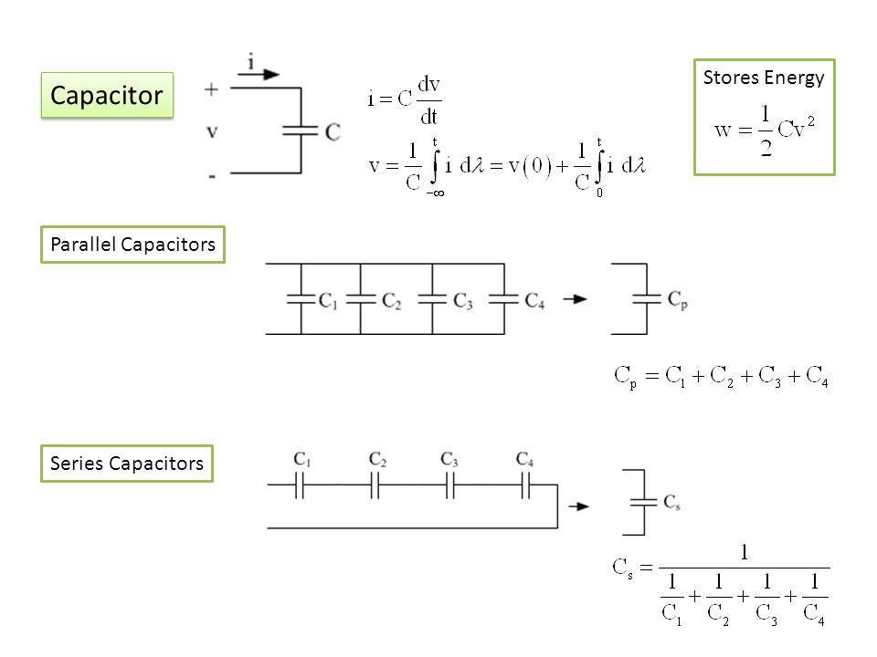 Stores Energy Capacitor Parallel Capacitors Series Capacitors