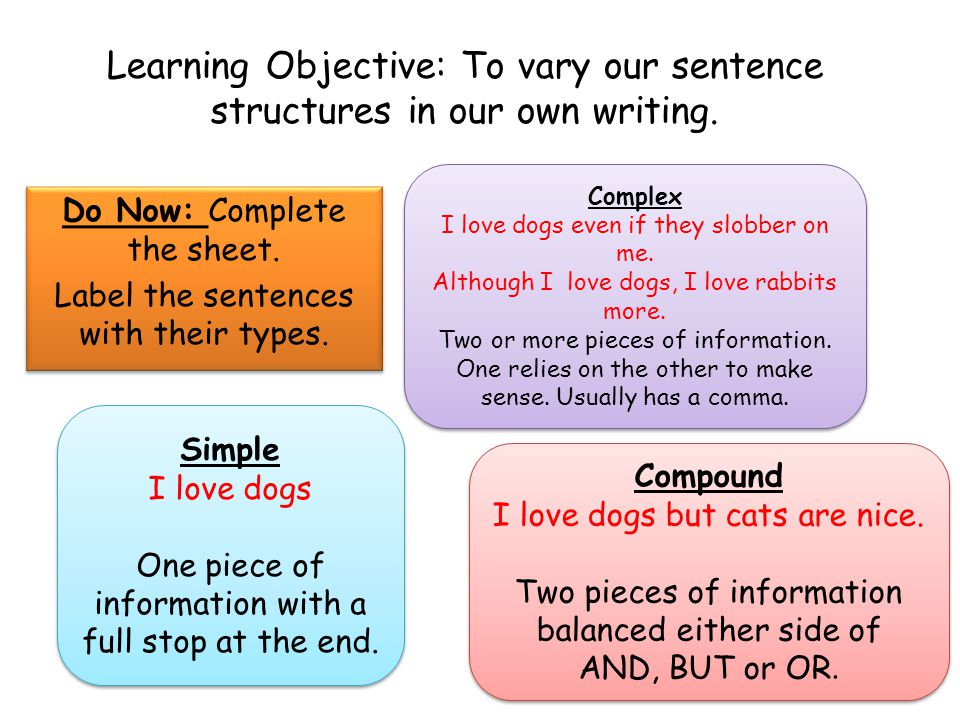 Do Now: Complete the sheet. Label the sentences with their types.
