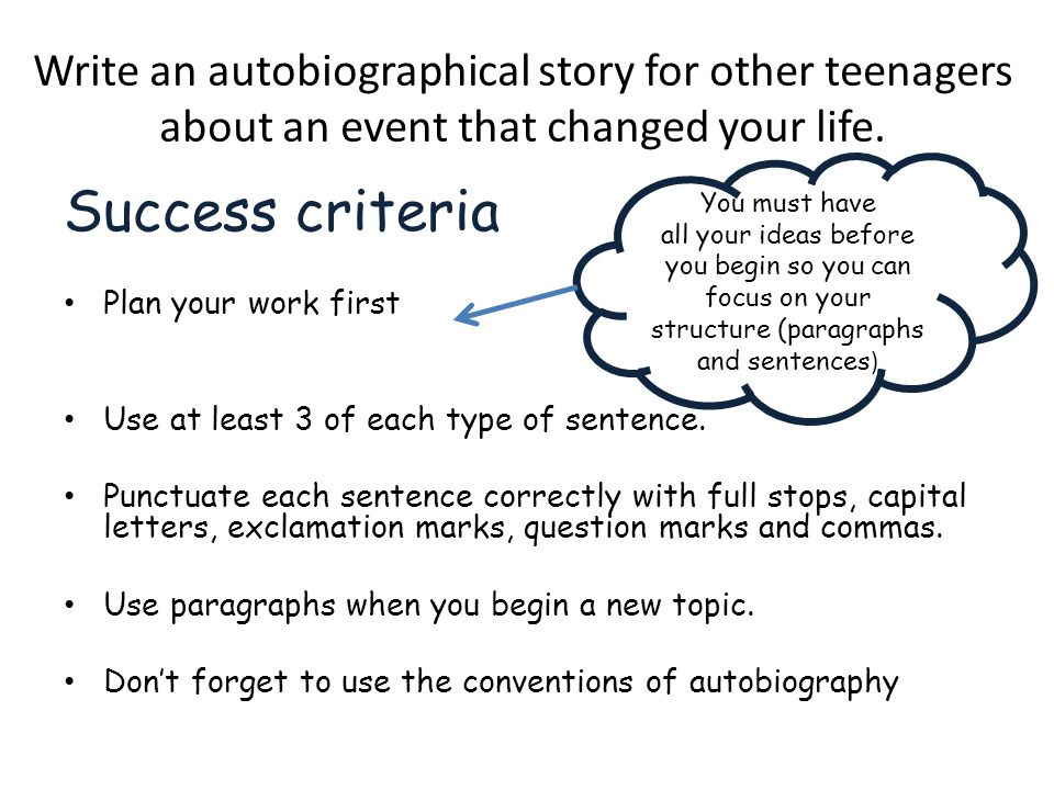 Write an autobiographical story for other teenagers about an event that changed your life.