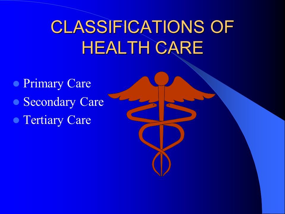 CLASSIFICATIONS OF HEALTH CARE