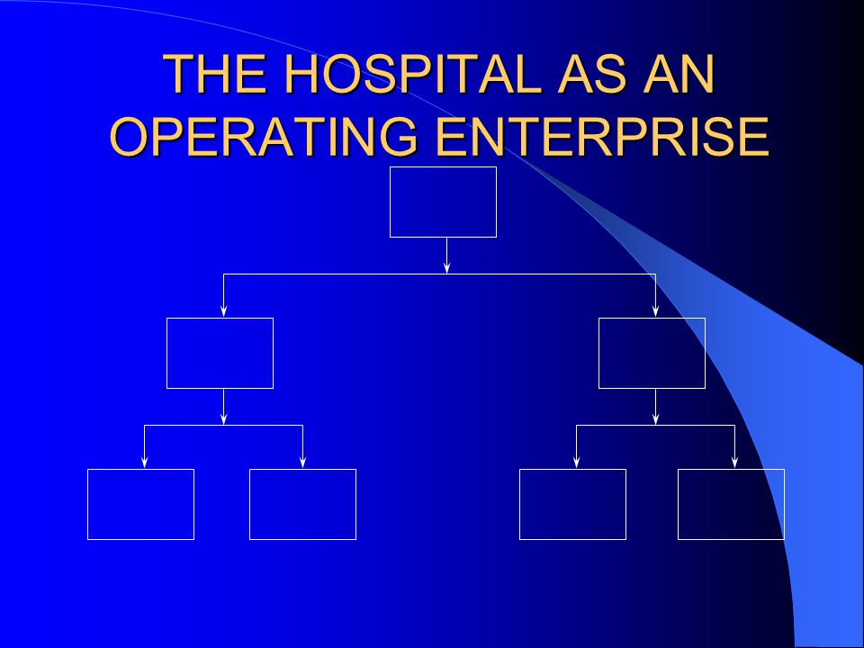 THE HOSPITAL AS AN OPERATING ENTERPRISE