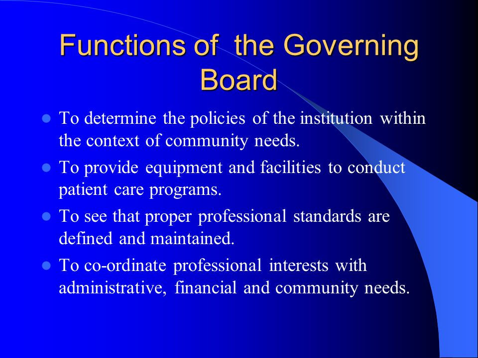 Functions of the Governing Board