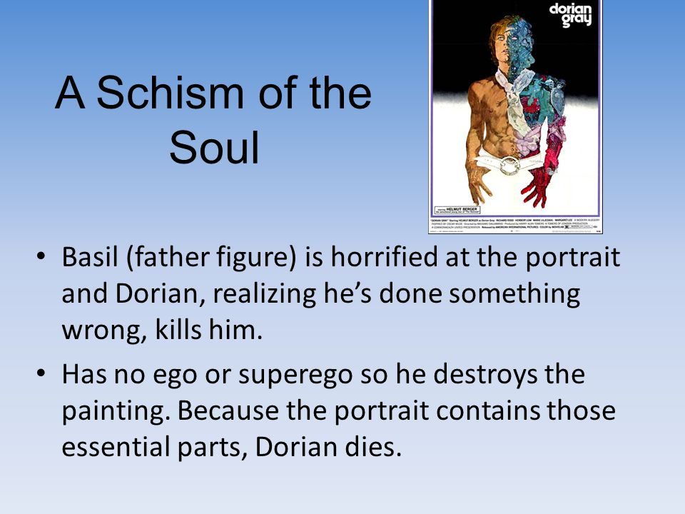 A Schism of the Soul Basil (father figure) is horrified at the portrait and Dorian, realizing he's done something wrong, kills him.