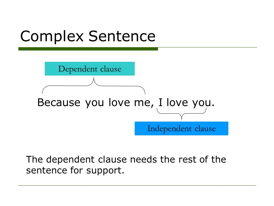 Complex Sentence Because you love me, I love you. Dependent clause