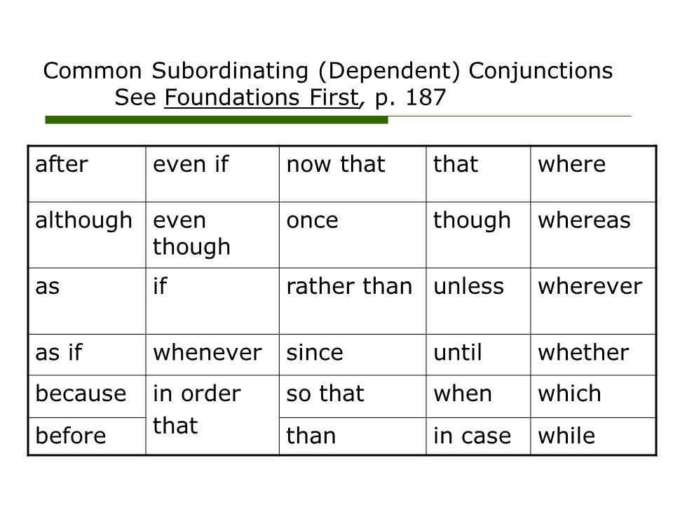 Common Subordinating (Dependent) Conjunctions See Foundations First, p