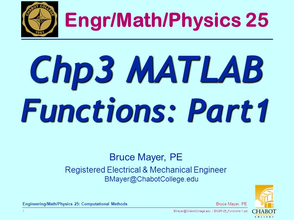 Chp3 MATLAB Functions: Part1