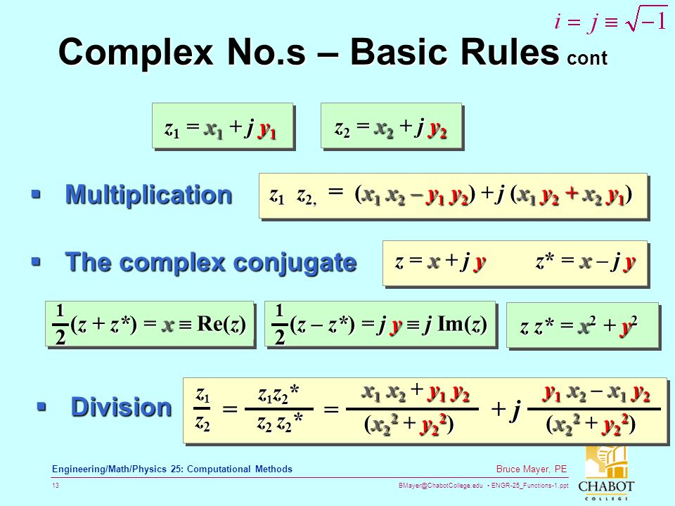 Complex No.s – Basic Rules cont