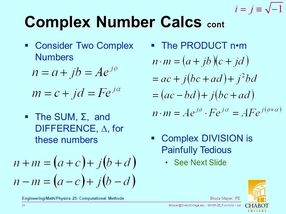 Complex Number Calcs cont