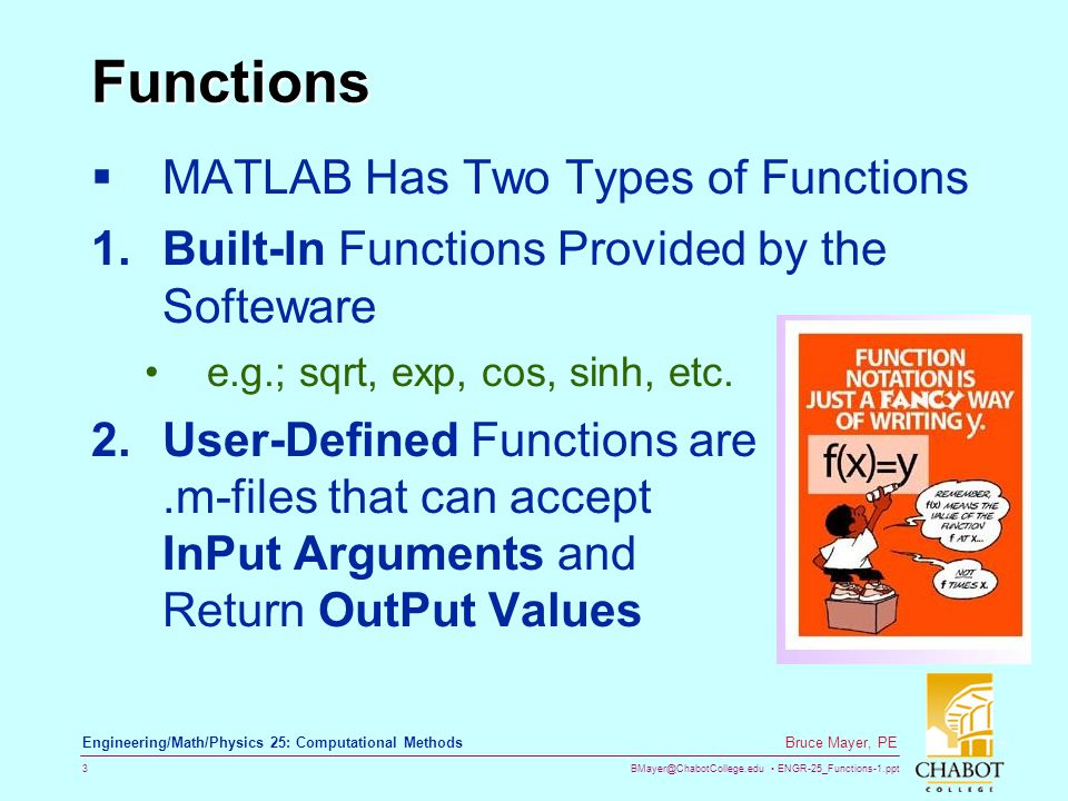 Functions MATLAB Has Two Types of Functions