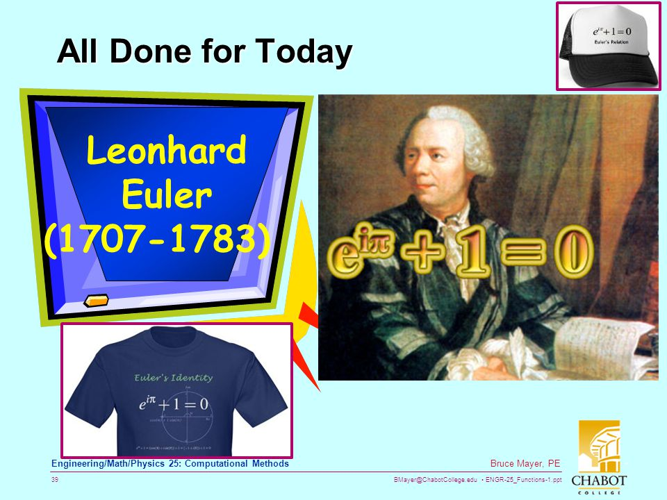 Leonhard Euler (1707-1783) All Done for Today
