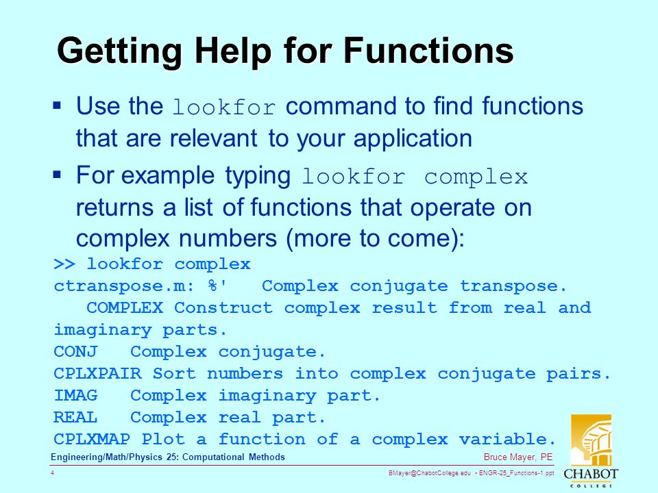 Getting Help for Functions