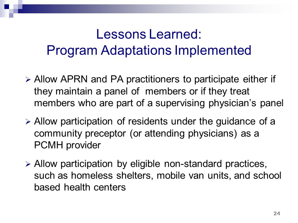 Lessons Learned: Program Adaptations Implemented (cont.)