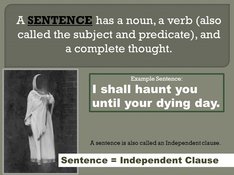 A SENTENCE has a noun, a verb (also called the subject and predicate), and a complete thought.