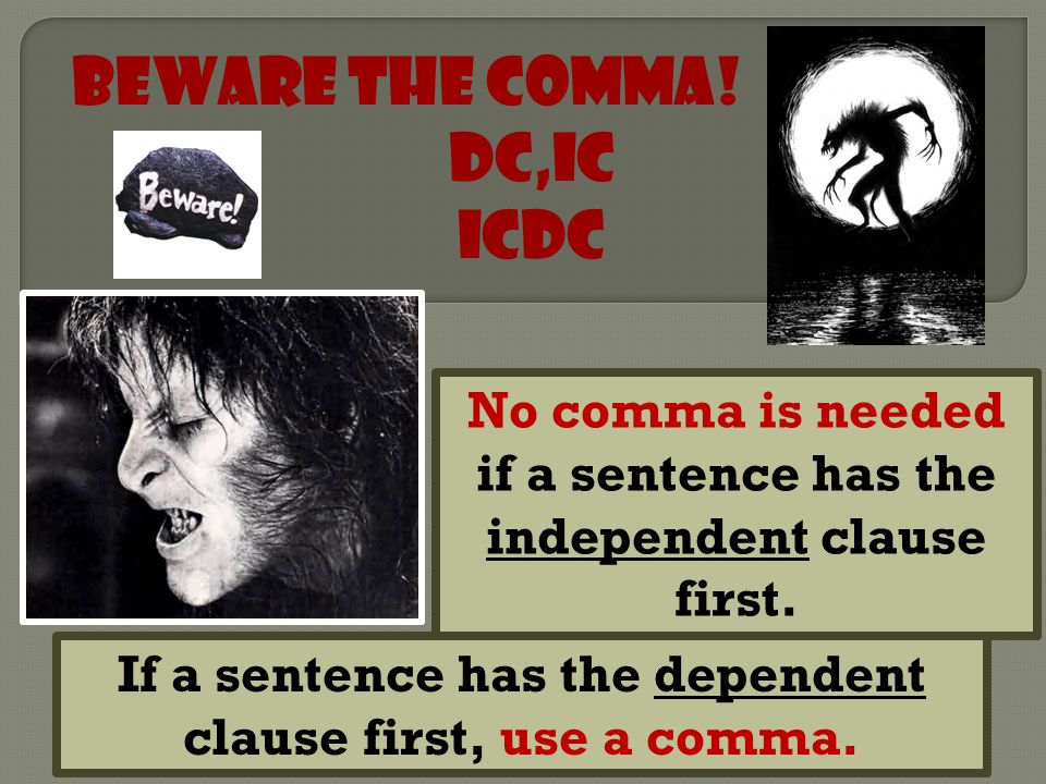 Beware the Comma! DC,IC ICDC