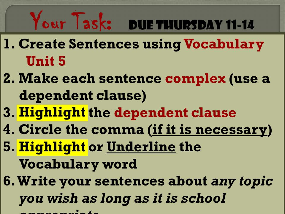 Your Task: Due Thursday 11-14