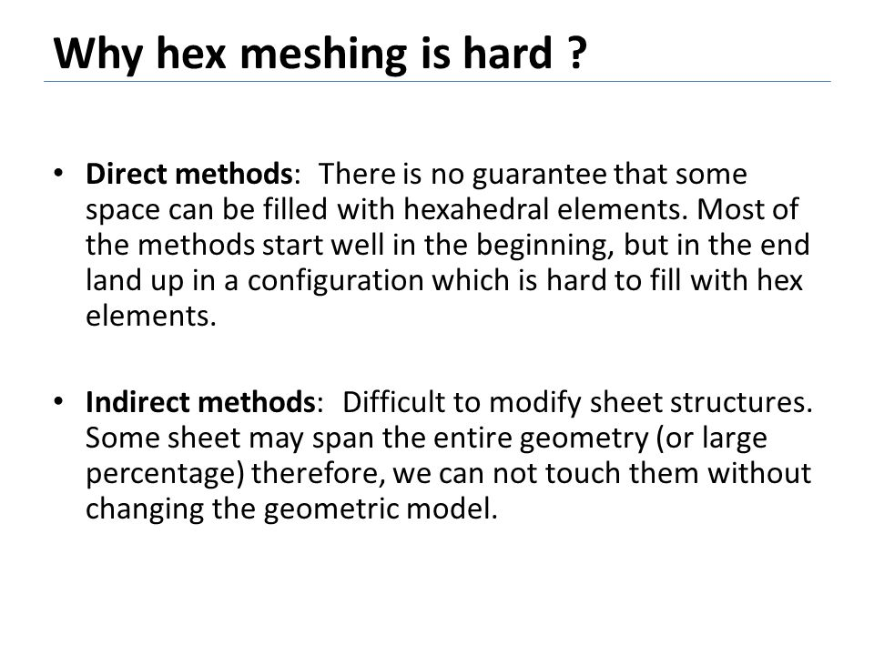 Why hex meshing is hard