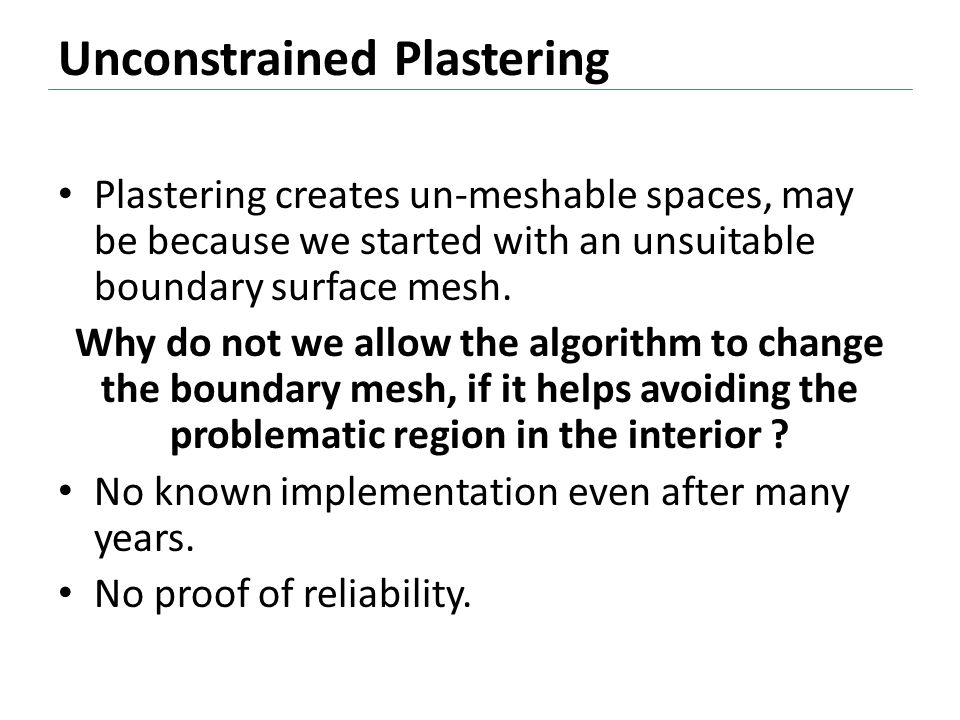 Unconstrained Plastering