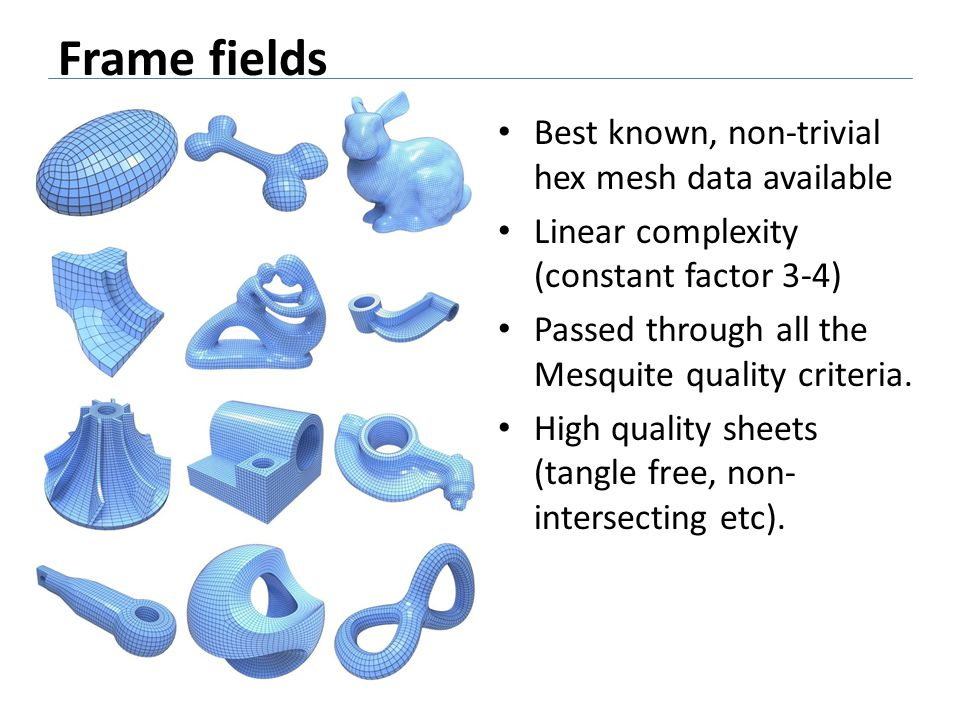 Frame fields Best known, non-trivial hex mesh data available