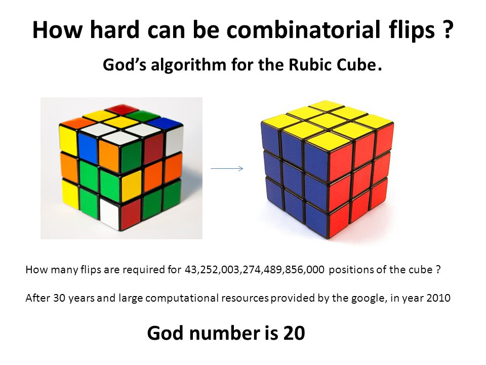 How hard can be combinatorial flips God's algorithm for the Rubic Cube.