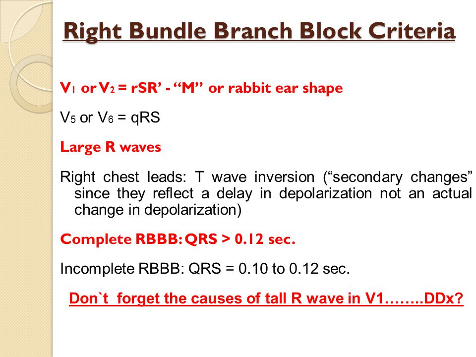 Right Bundle Branch Block Criteria