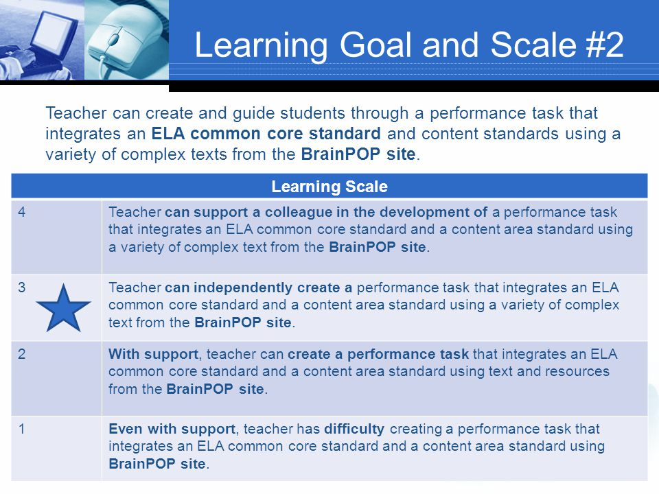 Learning Goal and Scale #2