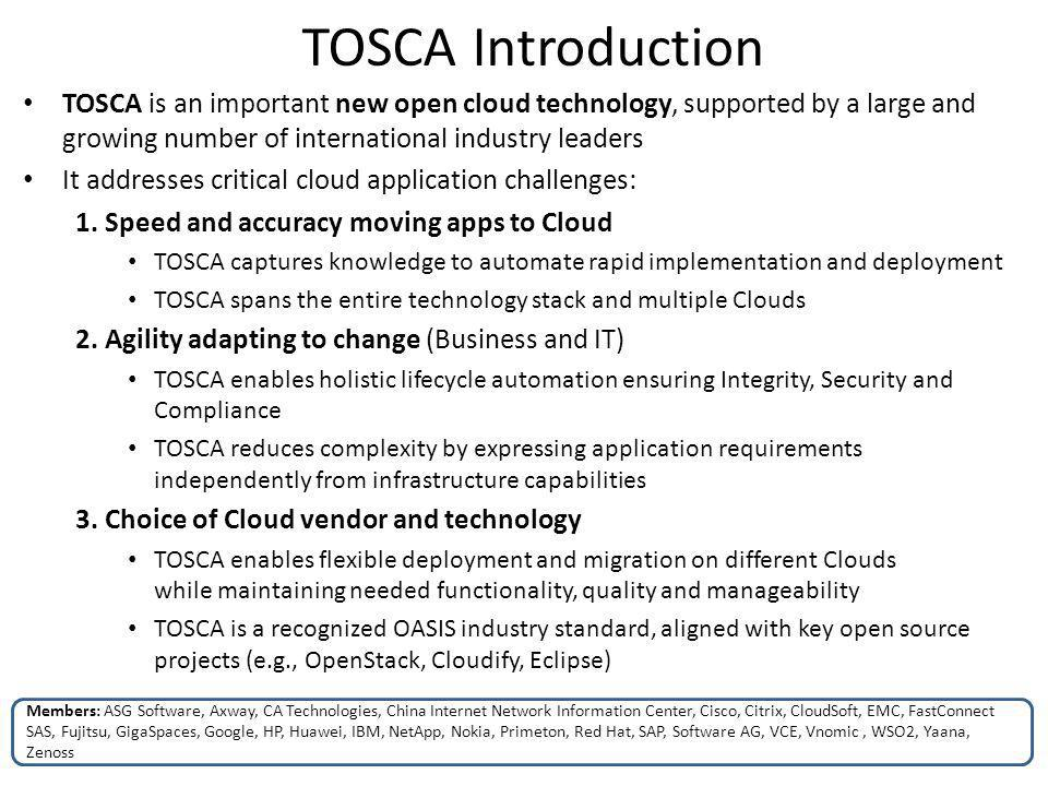 TOSCA Introduction TOSCA is an important new open cloud technology, supported by a large and growing number of international industry leaders.