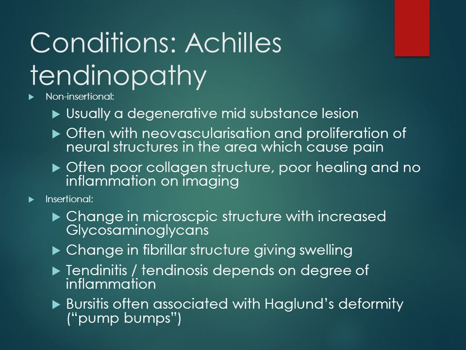 Conditions: Achilles tendinopathy