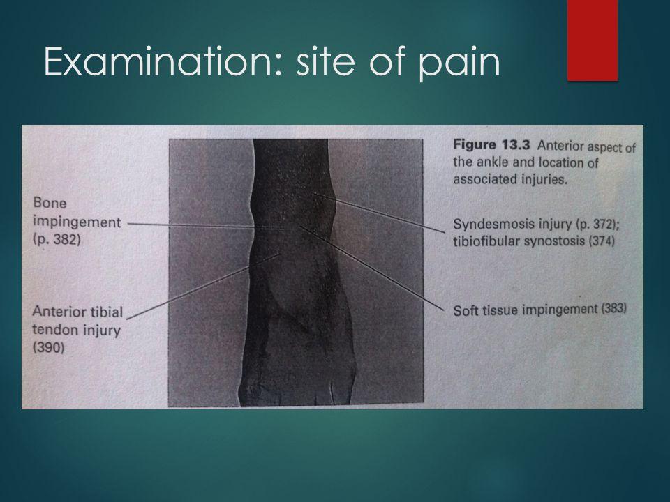 Examination: site of pain
