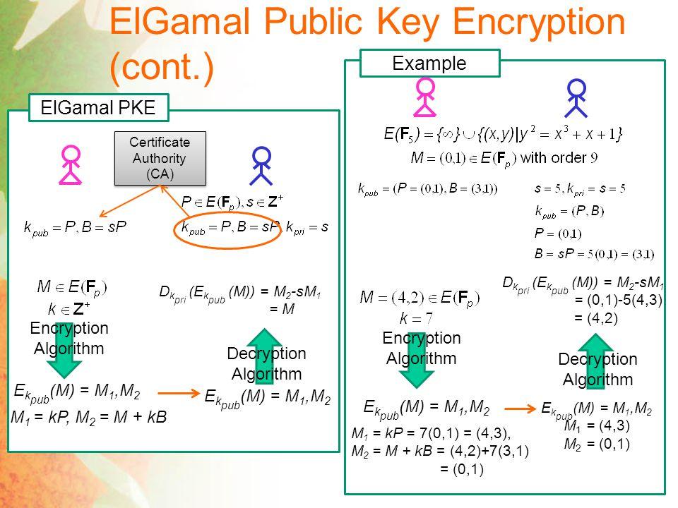 ElGamal Public Key Encryption (cont.)