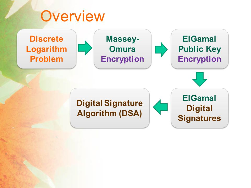 Overview Discrete Logarithm Problem Massey-Omura Encryption