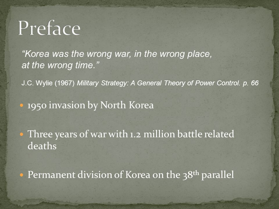 Preface 1950 invasion by North Korea