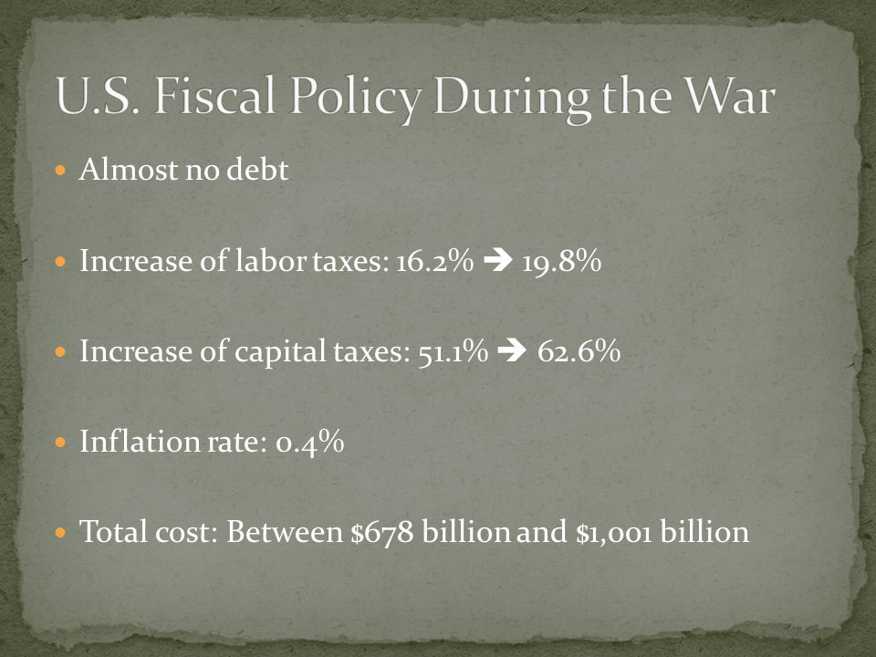 U.S. Fiscal Policy During the War