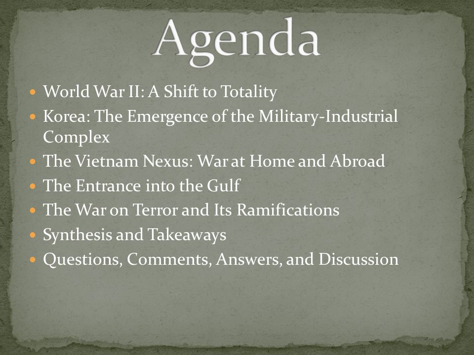 Agenda World War II: A Shift to Totality