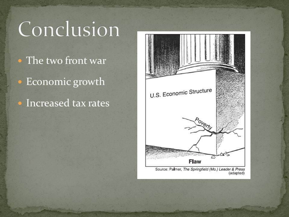 Conclusion The two front war Economic growth Increased tax rates