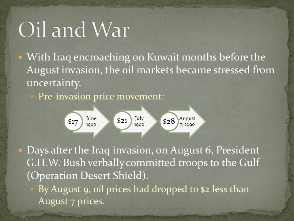 Oil and War With Iraq encroaching on Kuwait months before the August invasion, the oil markets became stressed from uncertainty.