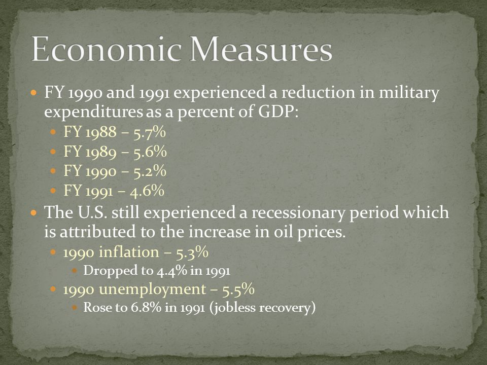 Economic Measures FY 1990 and 1991 experienced a reduction in military expenditures as a percent of GDP: