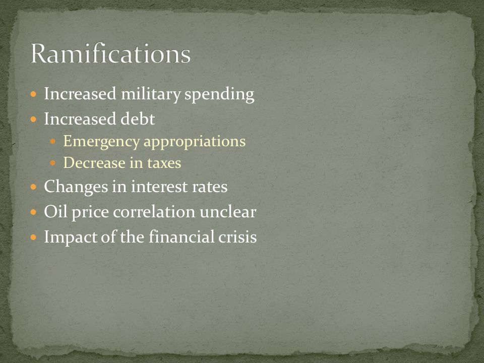 Ramifications Increased military spending Increased debt